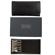 Leather key wallet black
